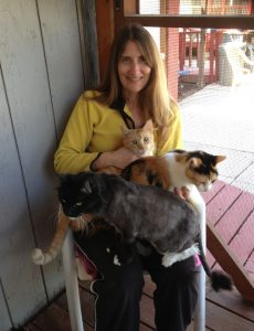 Sindi visiting with the friendly residents at Friends of Cats shelter in El Cajon, CA.